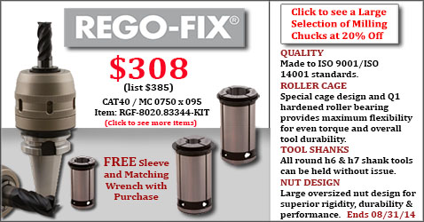 Rego-Fix Milling Chucks Sale! 20% Off Plus FREE Sleeve and Wrench