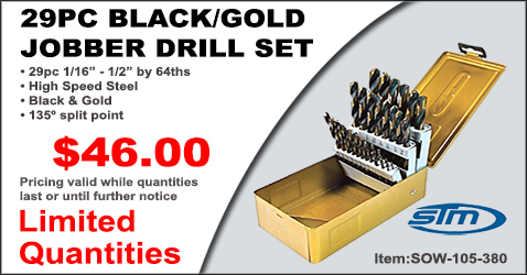 29 Piece Black Gold Jobber Drill Set