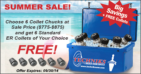 Techniks Summer Sale Buy 6 Sale Priced Collet Chucks get 6 Free Standard ER Collets