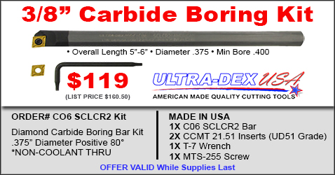 UltraDex USA 3/8 Inch Carbide Boring Kit