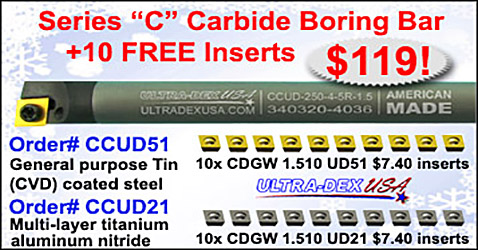 Ultra-Dex USA Series C Carbide Boring Bar and 10 Free Inserts for alt=